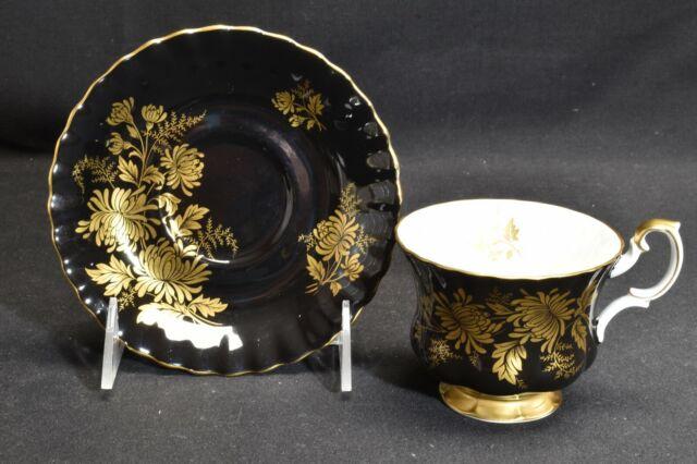 Royal Albert 4268 Black Gold Design Cup & Saucer