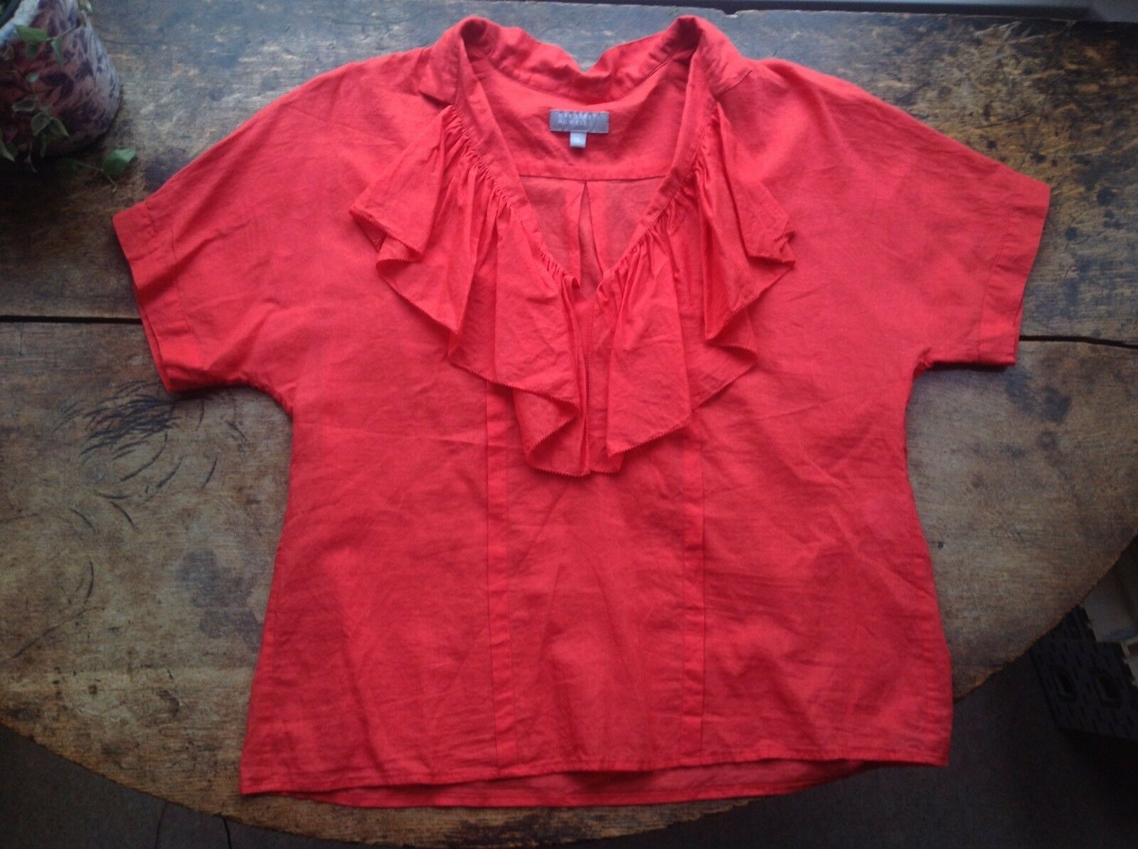 RRP Margaret Howell Coral Silk Cotton Boxy Shirt, Size