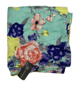 INC-Women-039-s-100-Rayon-Light-Oblong-Wrap-Scarf-Floral-Pattern-Teal-Multicolor