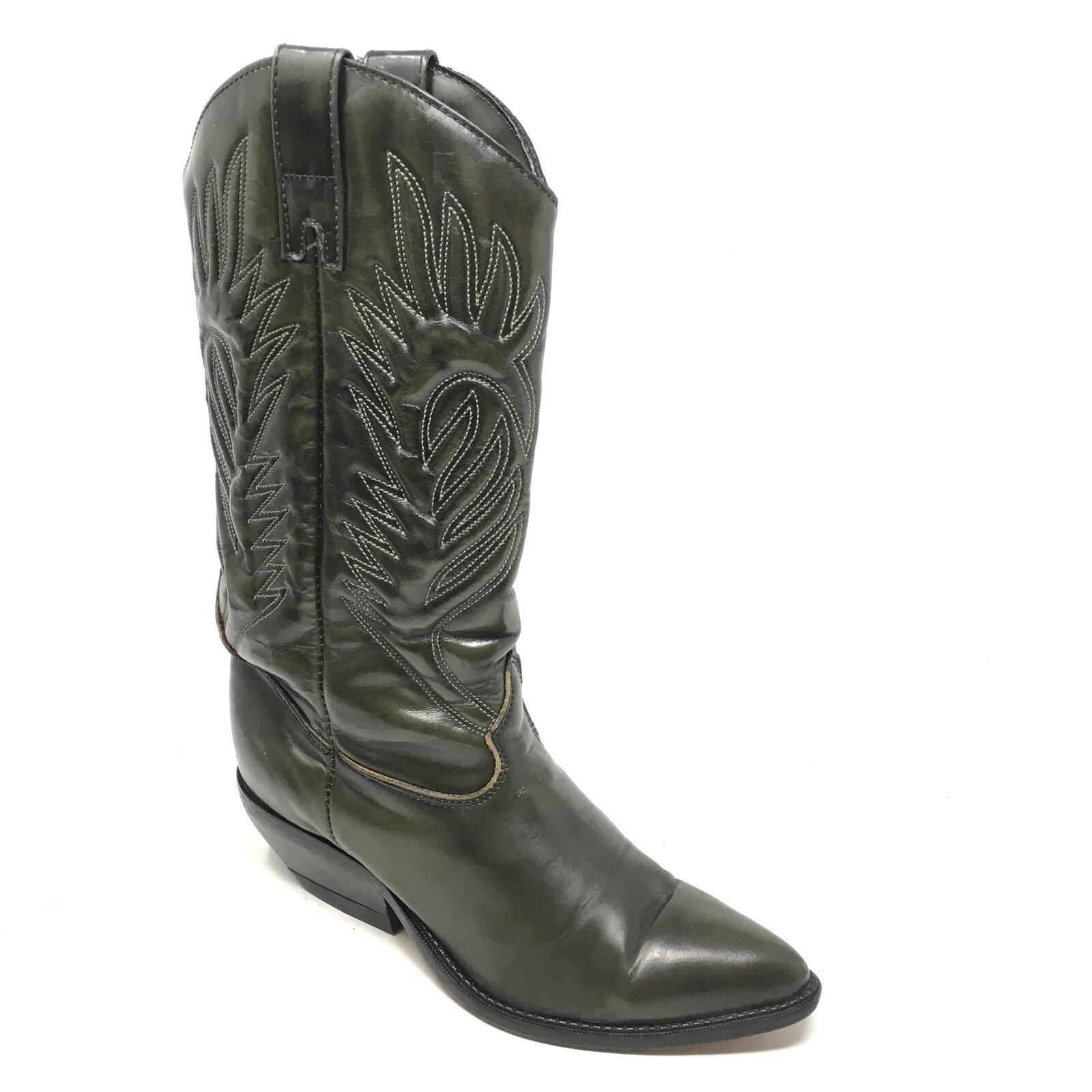 Women's VINTAGE Zodiac USA Western Boots Cowboy shoes Size 7M Green Leather W6