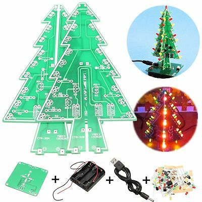 Christmas Tree LED Flashing Light DIY Kit Circuit Board Mould Red Green Yellow