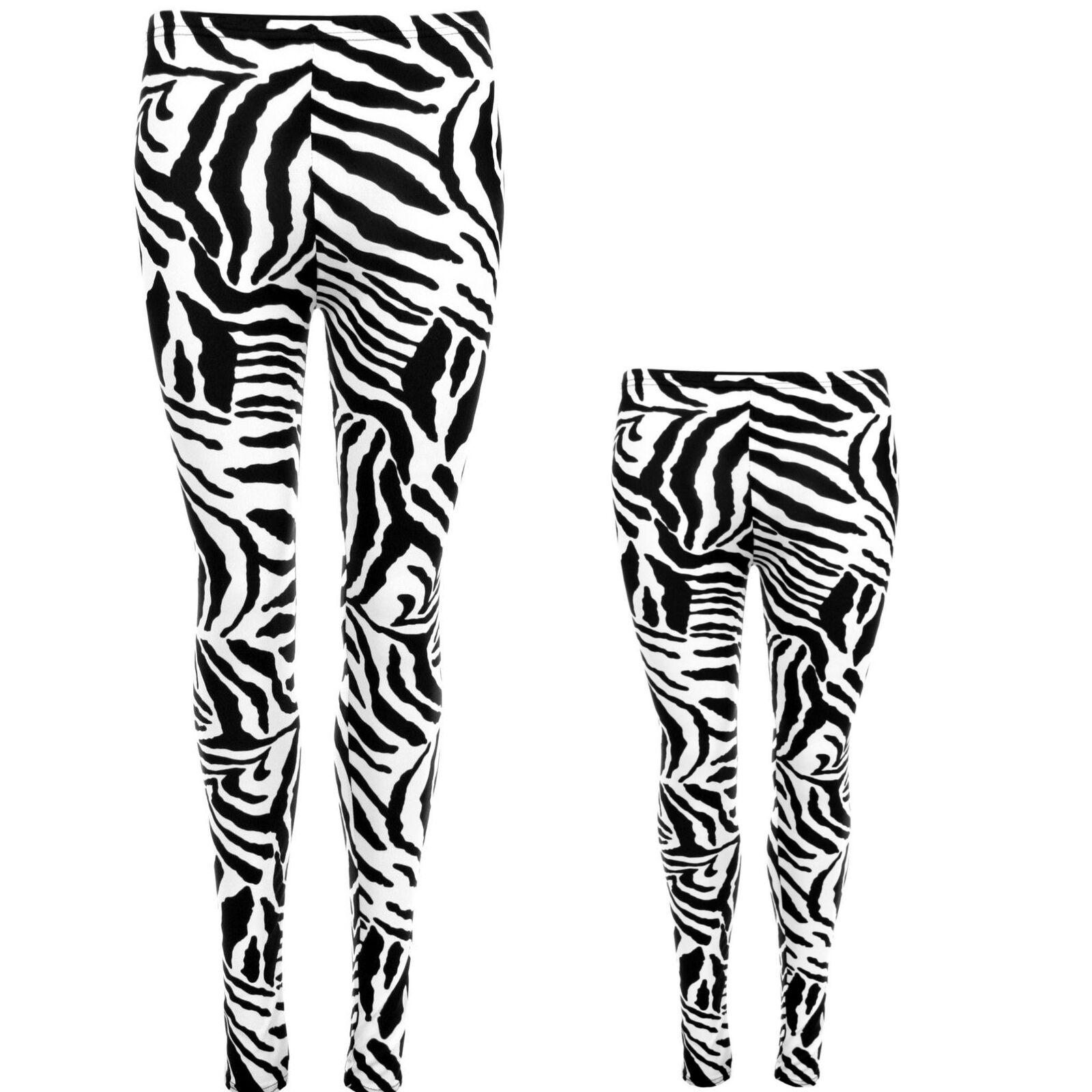 fb9dc7057e0c8 Details about MOTHER & DAUGHTER ZEBRA PRINT LEGGINGS LADIES GIRLS COSTUME  FANCY DRESS PARTY