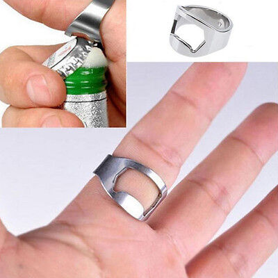 2PCS Stainless Steel Metal Finger Thumb Ring Beer Bottle Opener Bar Pub Tool AX