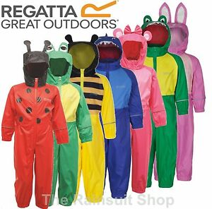 96a9cce3f3b9 Details about REGATTA PUDDLE FULLY WATERPROOF ALL IN ONE CHARCO RAIN SUIT  KIDS CHILDS -RKW148