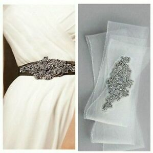Rare! SOLD OUT! Vera Wang Ivory Horsehair Sash with Crystals Bridal Belt