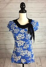 Little Yellow Button Anthropologie Blue Black Ribbon Shirt Top Size Small