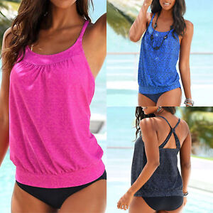 Women-Tankini-Set-Sports-Blouson-Top-Boy-Shorts-Swimwear-Beach-Swimsuit-Bathing