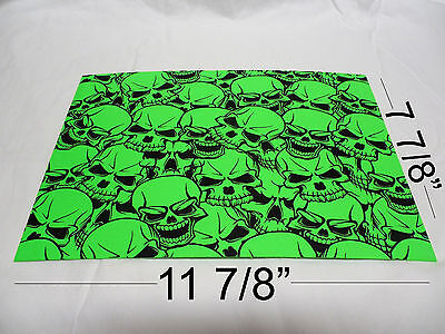 "Kydex Infused Zombie Green Skulls Print  Approx 11 7/8"" x 7 7/8 ""  1 Sheet"