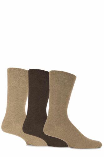 Mens 3 Pair Gentle Grip Plain Cotton Socks
