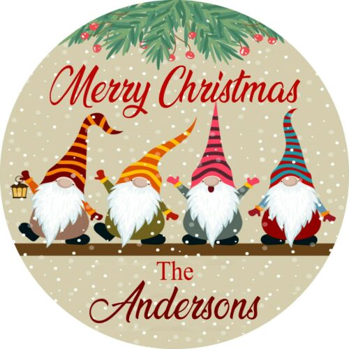 SCANDINAVIAN CHRISTMAS GNOME PERSONALIZED ROUND METAL SIGN