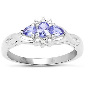 9ct-White-Gold-Tanzanite-amp-Diamond-Engagement-Ring-Ring-Size-H-to-W