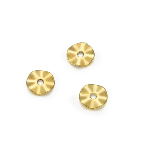 100x Tibetan Alloy Wavy Metal Beads Flat Disc Smooth Spacers Antique Gold 10x1mm