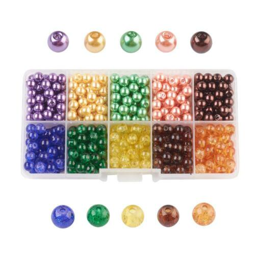1 Box Mixed Baking Painted Crackle Glass Pearl Bead Sets Round Jewelry Normal