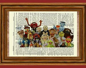The Muppets Dictionary Art Print Picture Kermit the Frog Miss Piggy Gonzo Fozzy