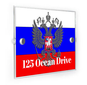 Russia-Flag-And-Crest-Modern-Style-Personalised-House-Number-Plaque