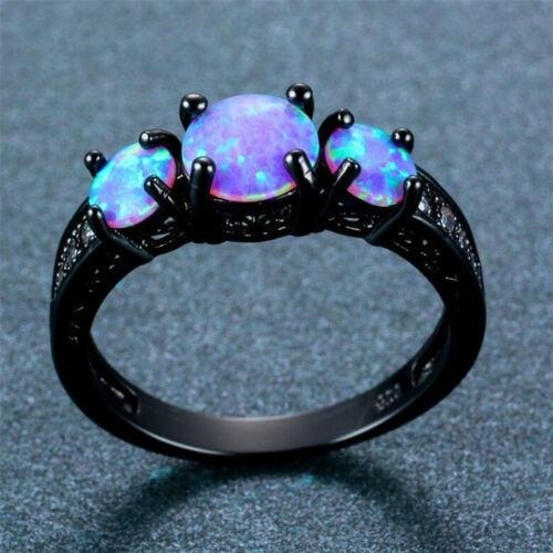 Vintage Wave Blue Imitation Opal Cross Wedding Ring Black Gold Wedding Jewelry
