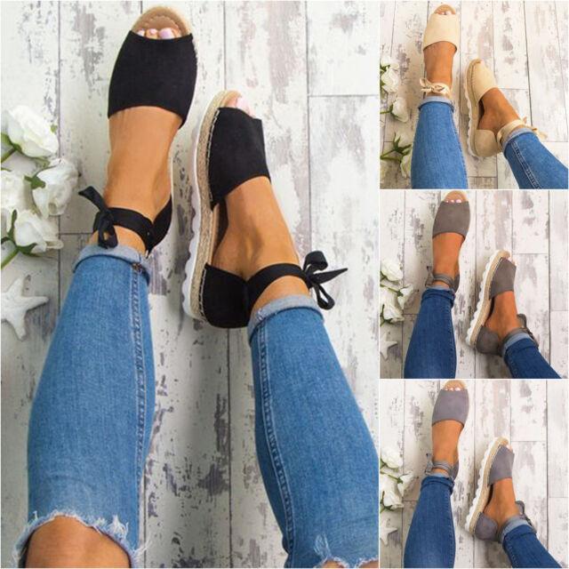 Women Flat Lace Up Platform Espadrille Summer Open Toe Sandals Wedge Ankle Shoes