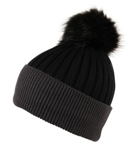ITZU Cashmere Wool Blend Knit Faux Fur Bobble Pom Pom Pull On Beanie Cap Hat