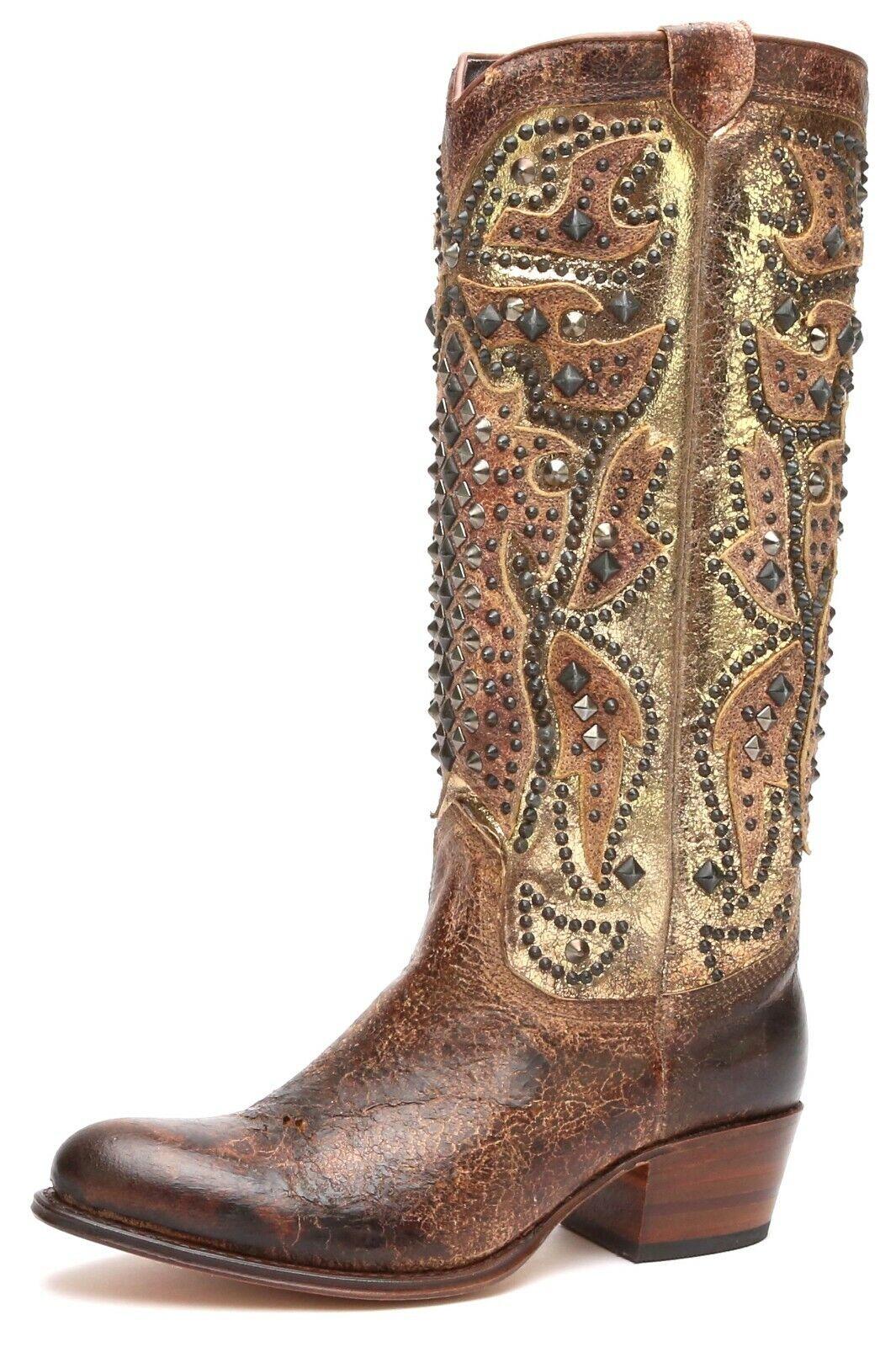 Frye Deborah Womens Deco Tall Whiskey Studded Cowboy Boots 2007 Size 7