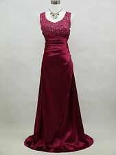 Cherlone Purple Full Length Prom Ballgown Wedding Bridesmaids Evening Dress UK 8