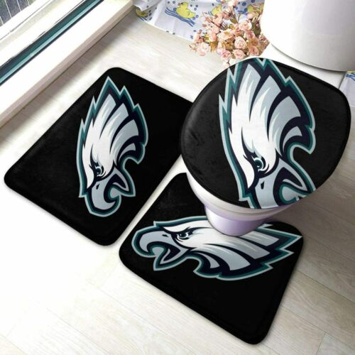 Philadelphia Eagles 3PCS Non-Slip Bathroom Bath Mat Toilet Cover Contour Rug Mat