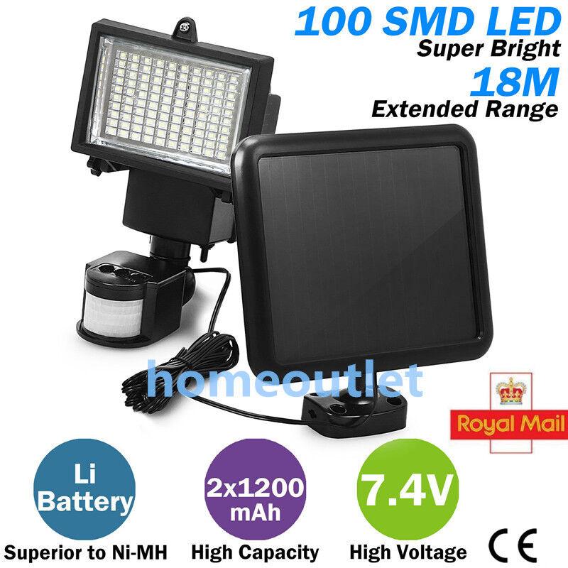 Garden Solar Motion Sensor Floodlight 100 LED Lamp PIR Detector Security Light