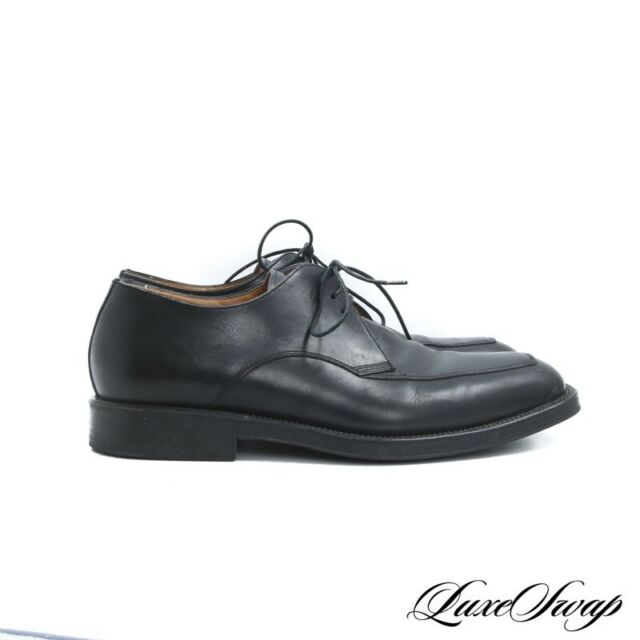 ESSENTIAL Santoni Made in Italy Black Apron Front 3 Eyelet Dress Shoes 8 D NR