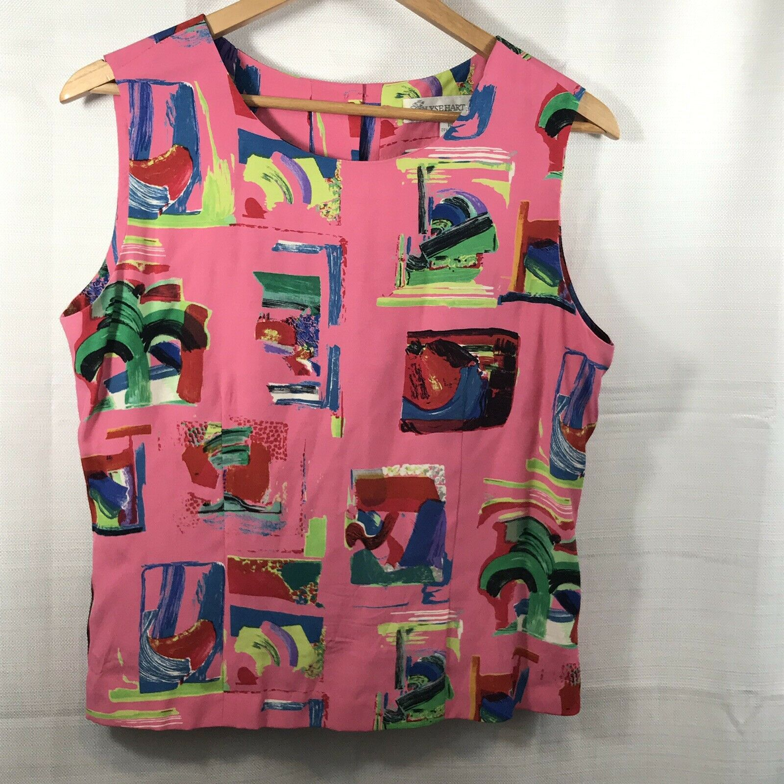 Jilyse Hart Ltd. Women's Sleeveless Button Down Top size 10 multi colord pink