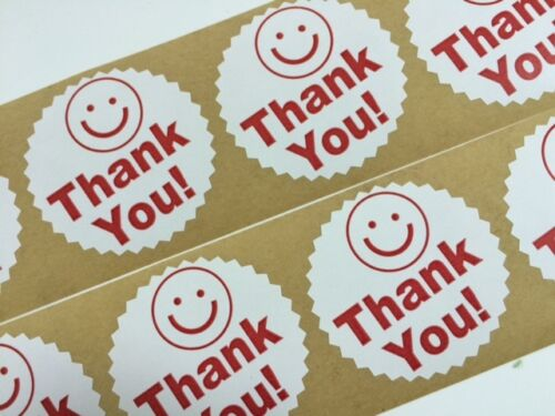 "250 Thank You Smiley  2/"" Starburst Red NEW Stickers Thank You Big Smile NEW"