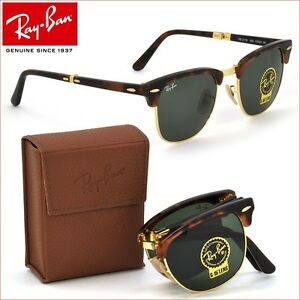 ray ban folding  Genuine Ray-Ban FOLDING CLUBMASTER Red Havana Sunglasses RB 2176 ...
