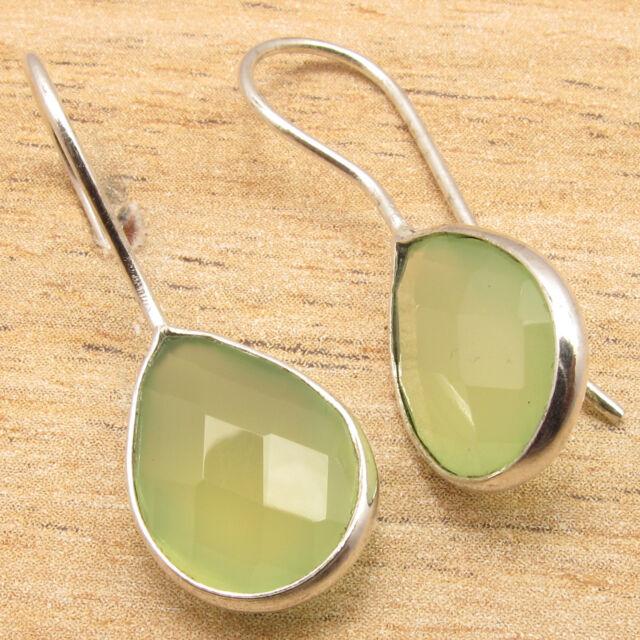 GREEN SEA CHALCEDONY Gems Women's Girls Simple Earrings ! 925 Silver Plated