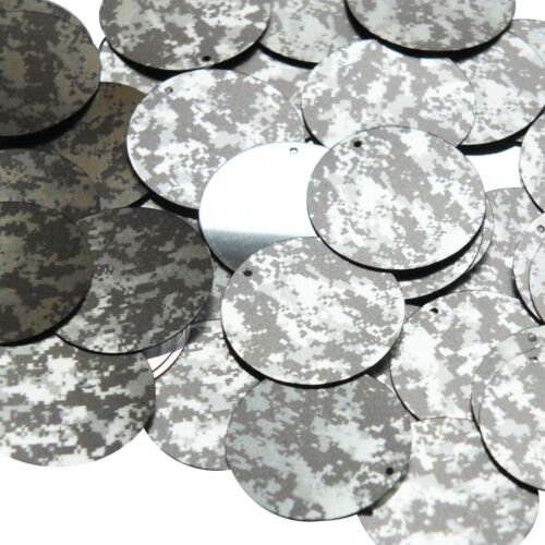 30mm Sequins Digi Ice Camo Camouflage Gray Black Metallic