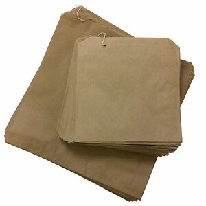 "100 x Brown Kraft Paper Bags 12"" x 12"" Fruit Sweets Packed Lunch Takeaway Bread"