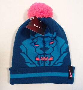 e97dc180abb Nike Lebron James King Lion Knit Cuff Beanie with Pom Pom Youth ...