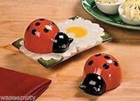 Red Ceramic Ladybug Salt & Pepper Shaker Set Kitchen Accent Decor Picnic Pizzaz!