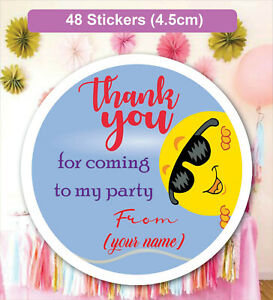 48 Personalised Happy Birthday Party Labels Stickers Sweet Cone Bags