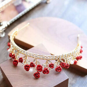 Red-Crystal-Crown-Tiara-Bridal-Rhinestone-Headband-Princess-Wedding-Birthday