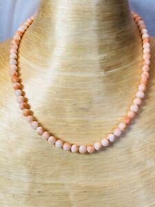 VTG-Estate-Light-Pink-Angel-Skin-Coral-Natural-Necklace-Beaded-Fine-6mm