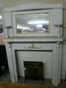 Fireplace-Mantle-Surround-Beveled-Mirror-Painted-Antique