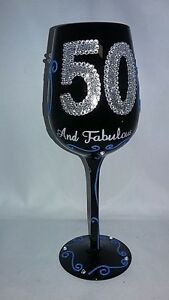 Hand Painted 15 Oz Black Wine Glass Silver 50 Fifty And