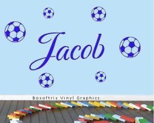 Personalised-Name-Wall-Art-Footballs-Vinyl-Sticker-Boys-Girls-Room-Bedroom