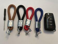 Key Chain Holder For Kia Soul Keychain Leather Strap Keyfob Ring Red Black Blue