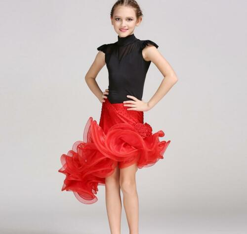 Chic Childrens Latin Salsa Ballroom Dance Dress Girls Dancewear top skirt b0d0