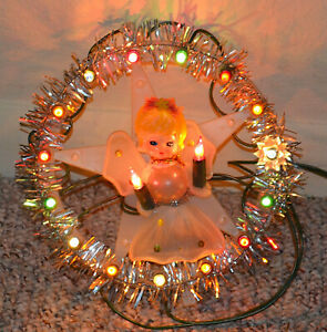 VINTAGE MESH BLOW MOLD ANGEL CHRISTMAS TREE TOPPER LIGHT ...