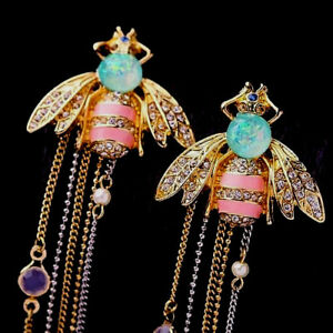 Dazzling-BEE-Tassels-Rhinestone-STRIPED-Enamel-18ct-Gold-Retro-Vintage-Earrings