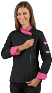Giacca Cook Fucsia Isacco Manica Nero Lunga Zip Donna Chef Lady Hr6wqCgxH