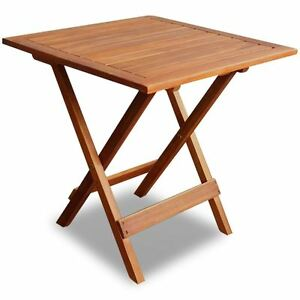 outdoor folding square coffee/side table acacia wood patio deck