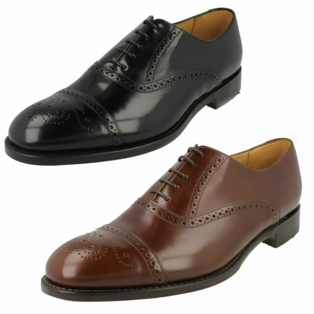 d5e6abe2d86 SALE MENS LOAKE BLACK BROWN LEATHER LACE UP FORMAL SEMI BROGUE SMART SHOES  OBAN