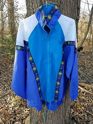 Activewear Jackets Women's Clothing Reebok Women's Vintage 90's Windbreaker Track Jacket Vented Szl Neon Vtg Tribal