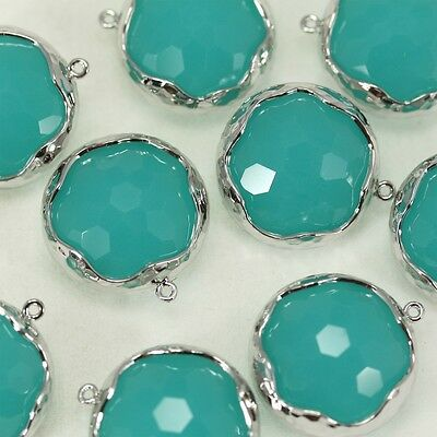 Bezel Setting Pendant Metal Beads Framed Glass Charm Earrings Findings FG-017
